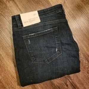 LOFT Modern Skinny Ankle Jeans distressed denim